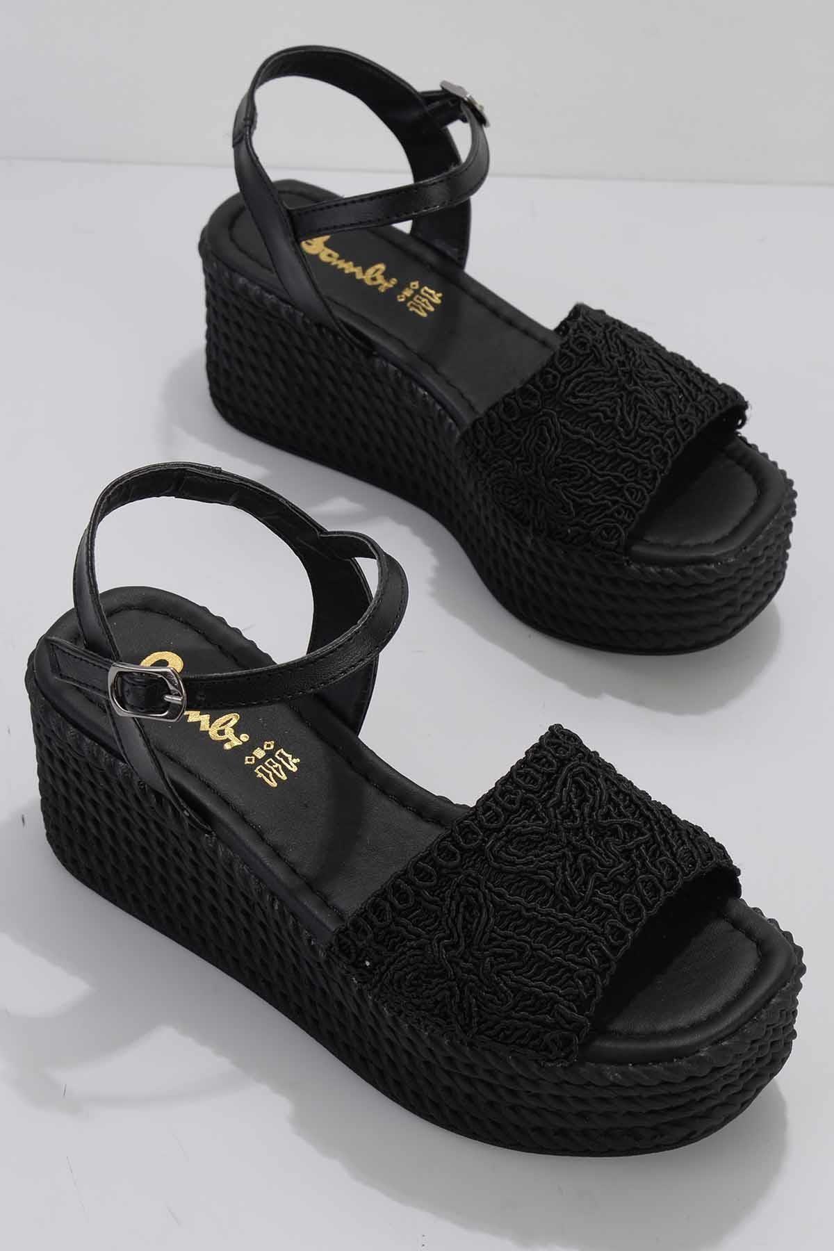 Siyah Örgü Kadın Sandalet K05836010116