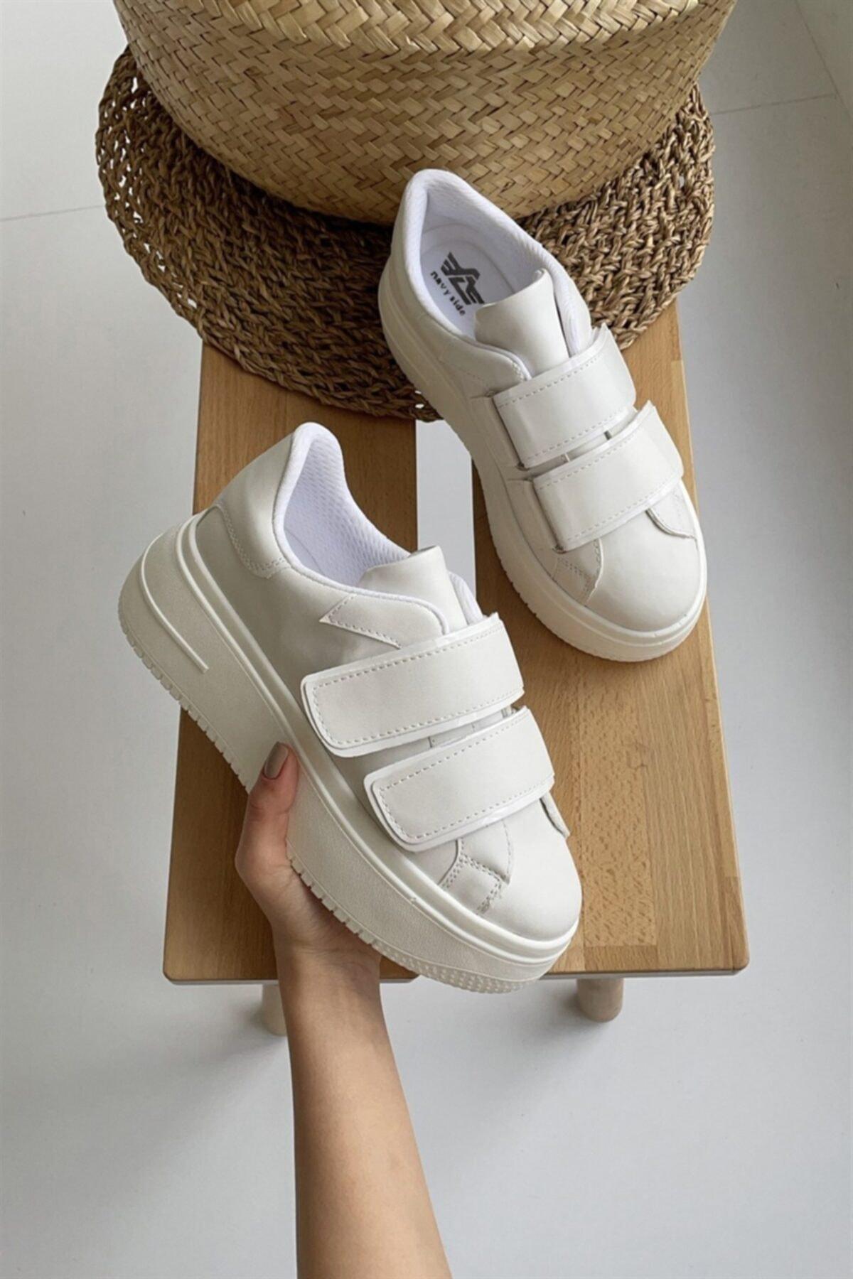 Kadın Beyaz Cırt Cırtlı Sneaker Spor Ayakkabı-Taban 5 cm-Yürüyüş Ayakkabısı Yüksek Tabanlı Bantlı