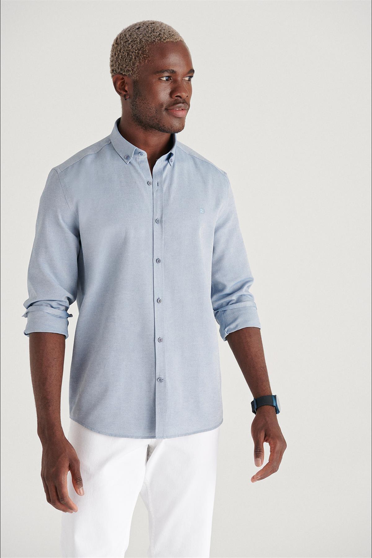 Erkek Koyu Mavi Oxford Düğmeli Yaka Regular Fit Gömlek E002000