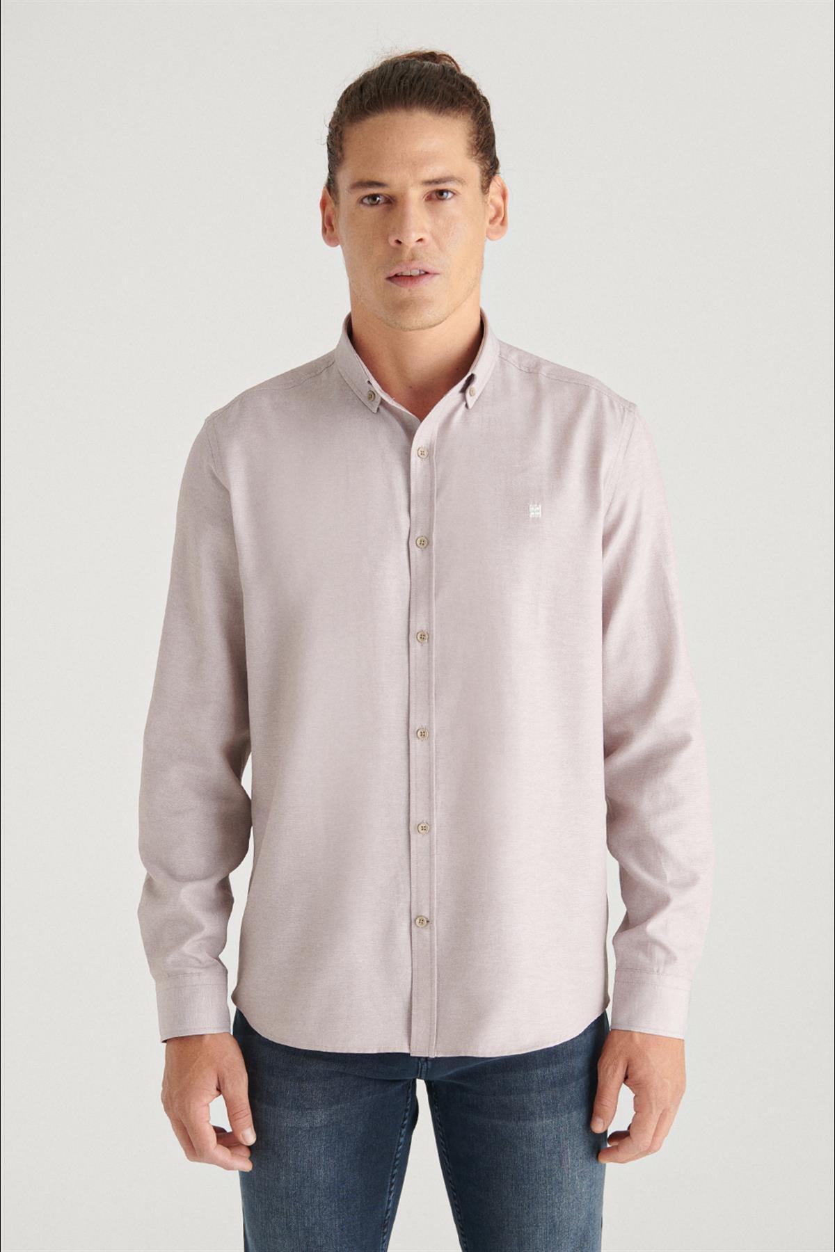 Erkek Bej Oxford Düğmeli Yaka Regular Fit Gömlek E002000