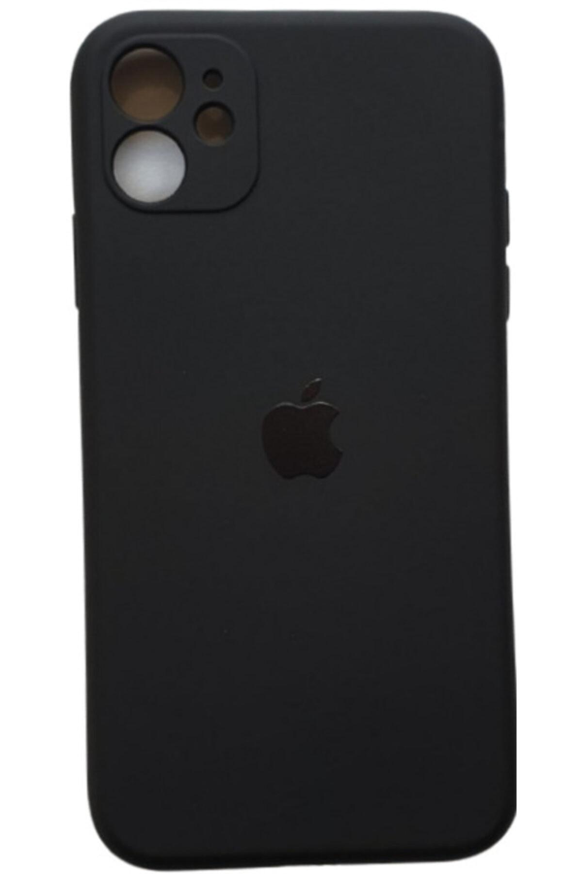Iphone 11 Uyumlu  Logolu Siyah Lansman Içi Kadife Aa Kalite