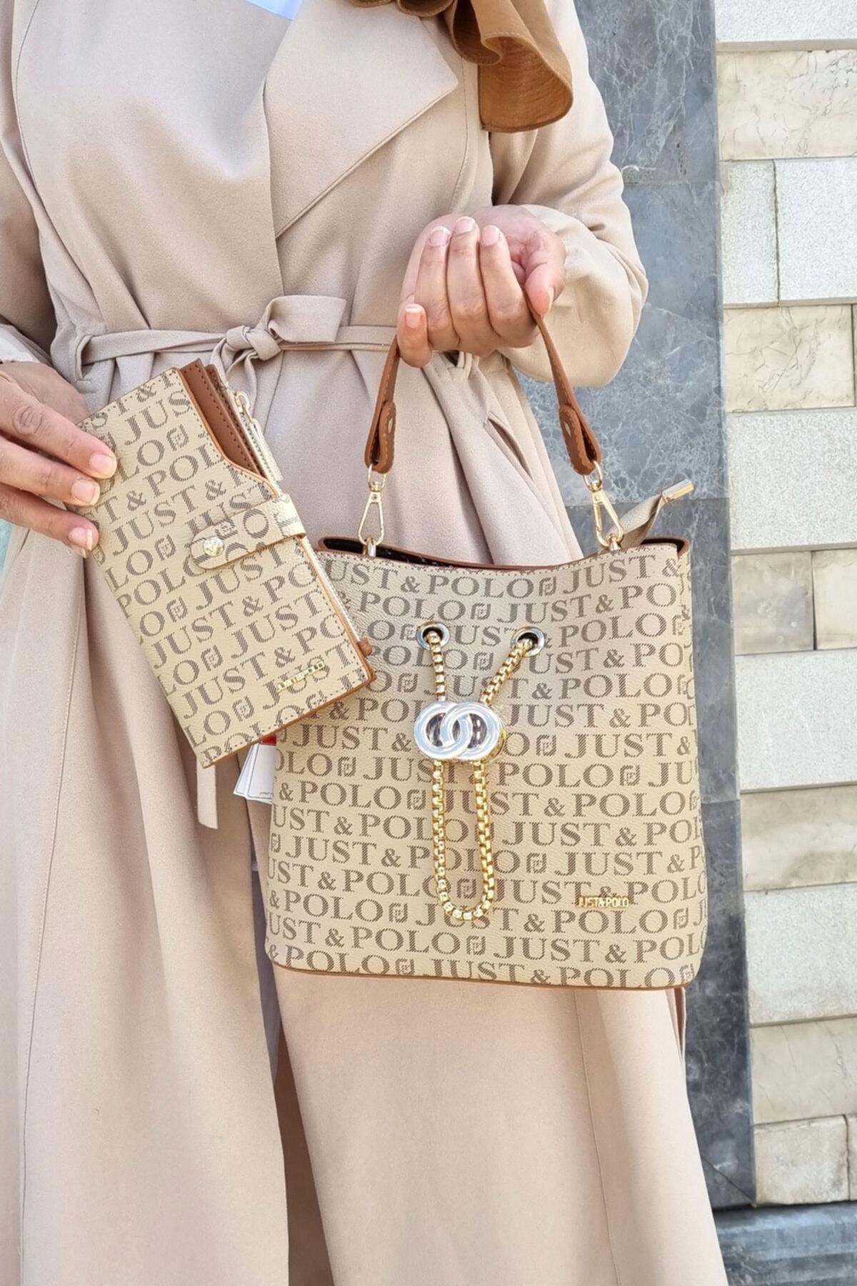 Kadın Kum Rengi Çanta Cüzdan Kombini