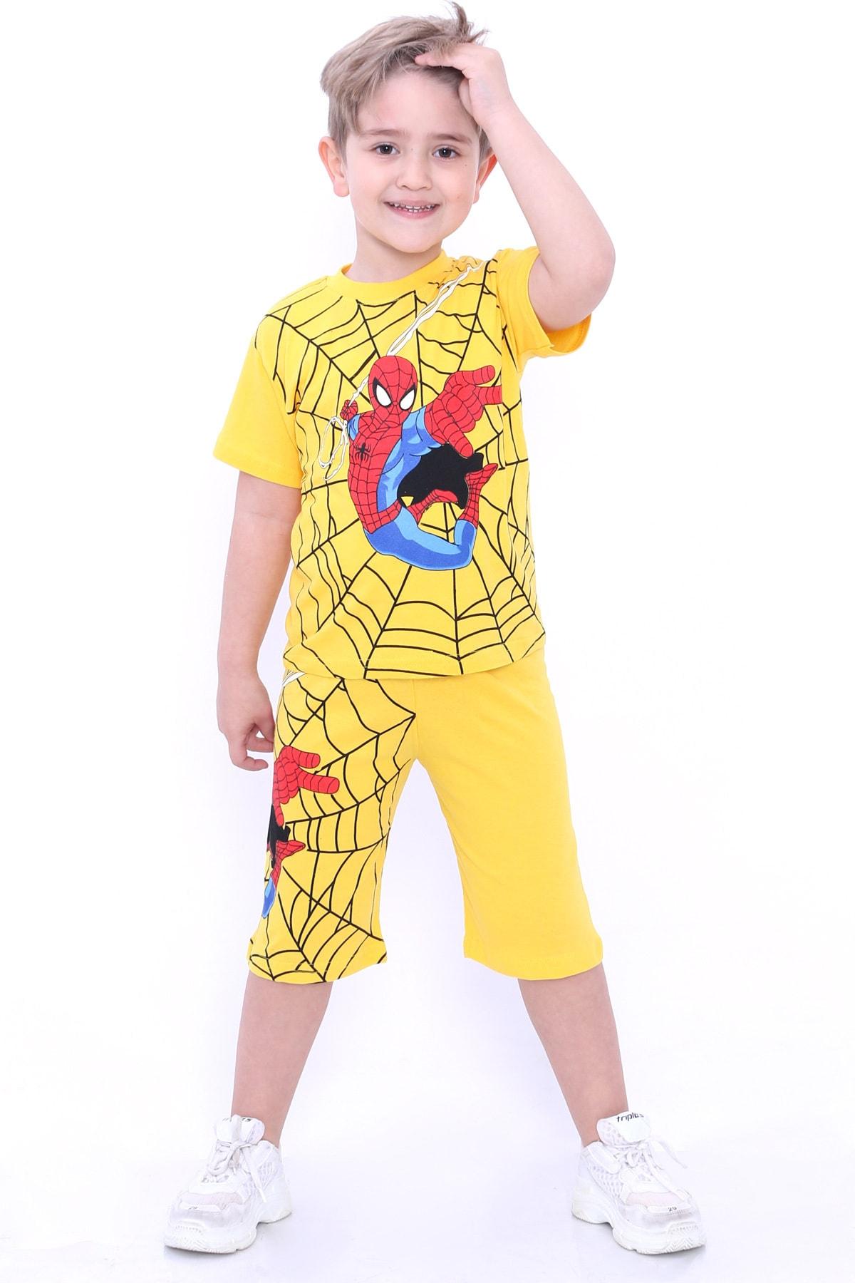 Erkek Çocuk Sarı Baskı 1-8 Yaş Şortlu Takım 6569-2