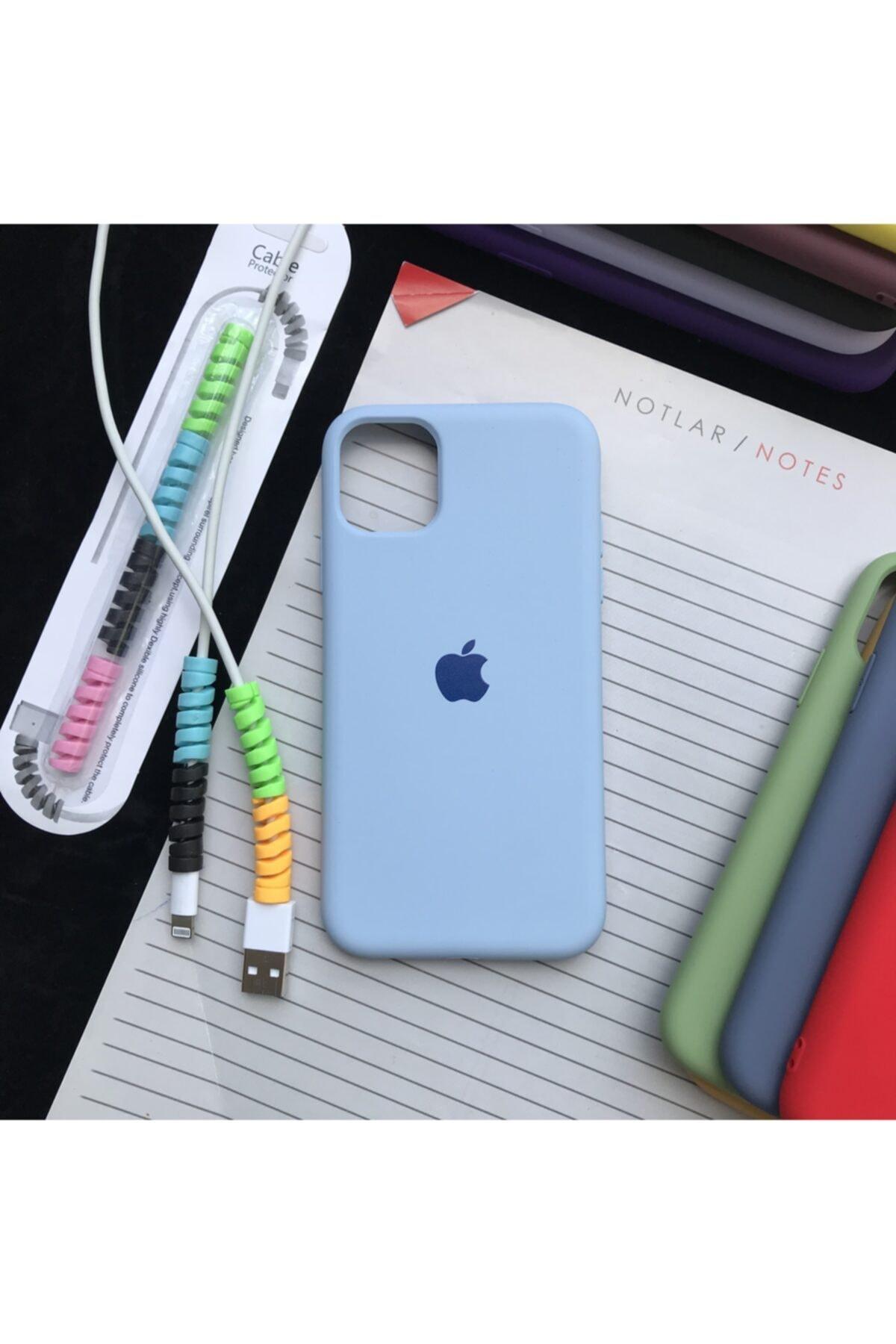 Iphone 11 Model, Logolu Lansman Kılıf Ve Kablo Koruyucu Makaron