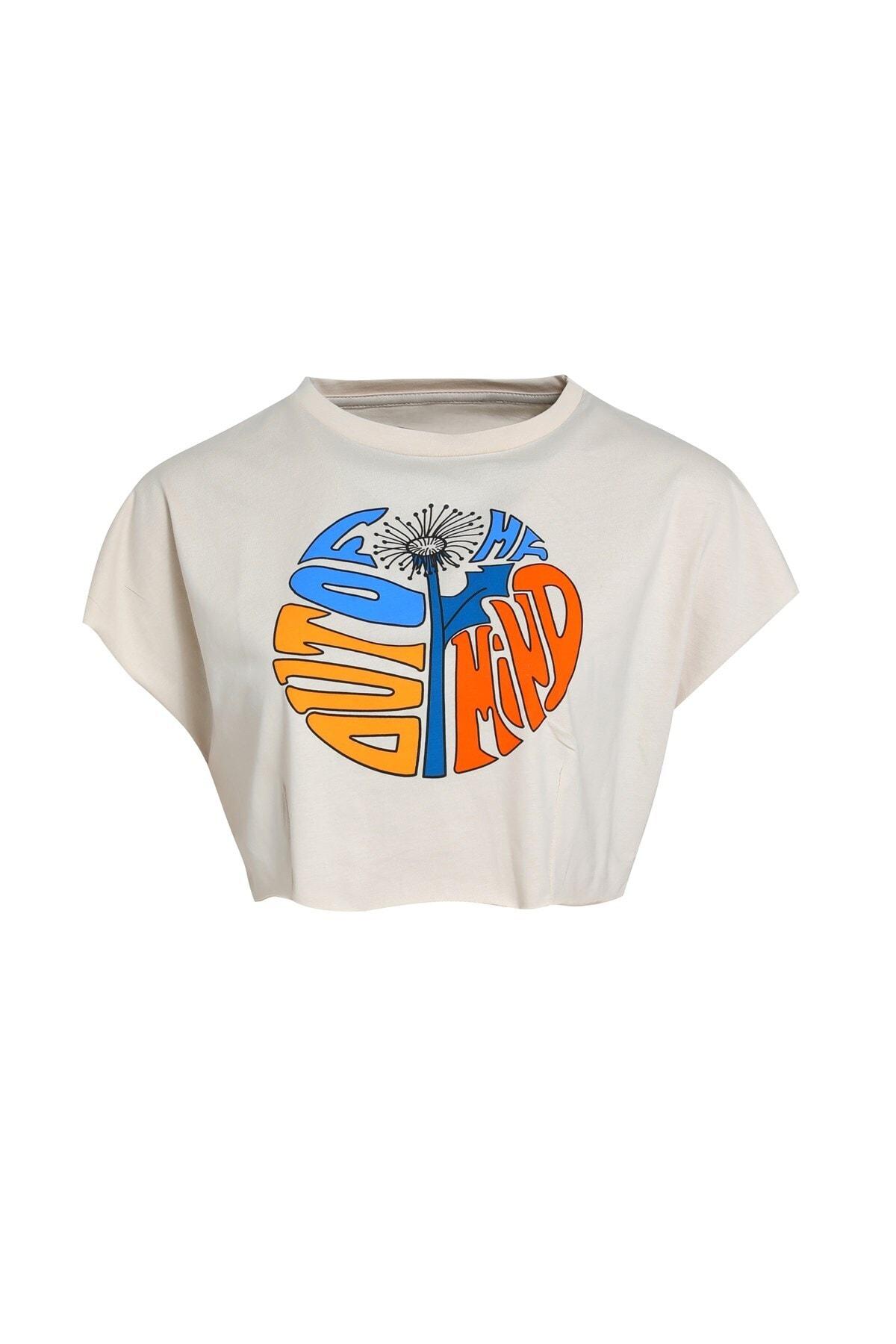 Baskılı Crop  T-Shirt Bej