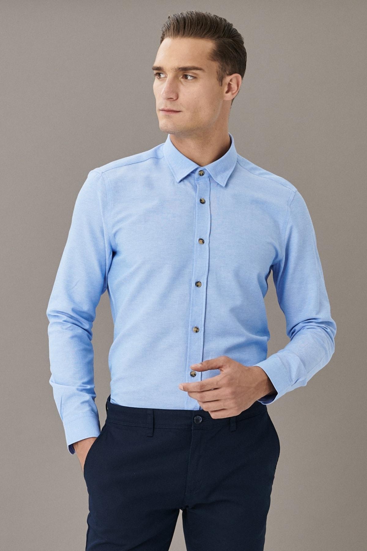 Erkek Mavi Tailored Slim Fit Dar Kesim Düğmeli Yaka Oxford Gömlek