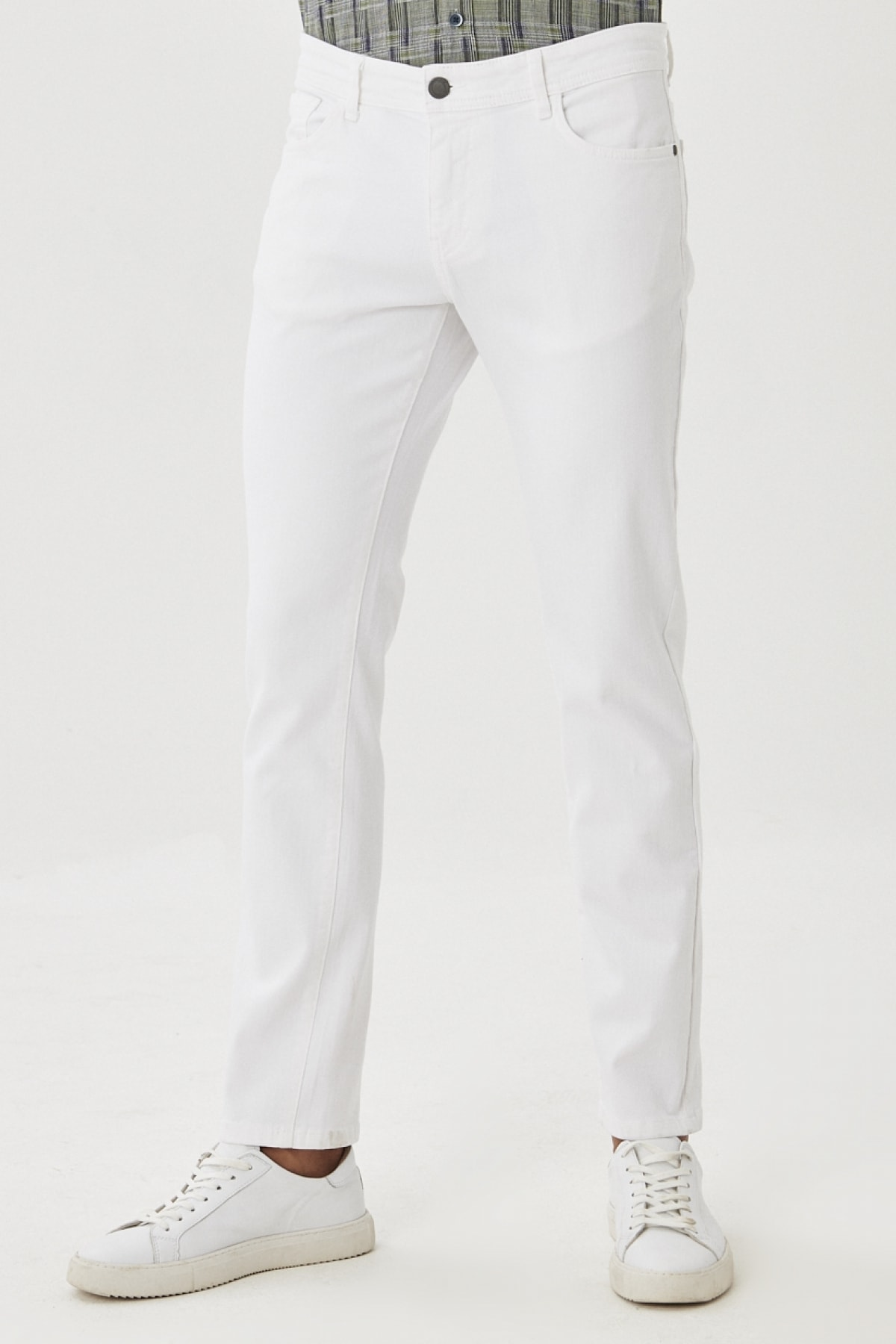 Erkek Beyaz 360 Derece Her Yöne Esneyen Rahat Slim Fit Pantolon