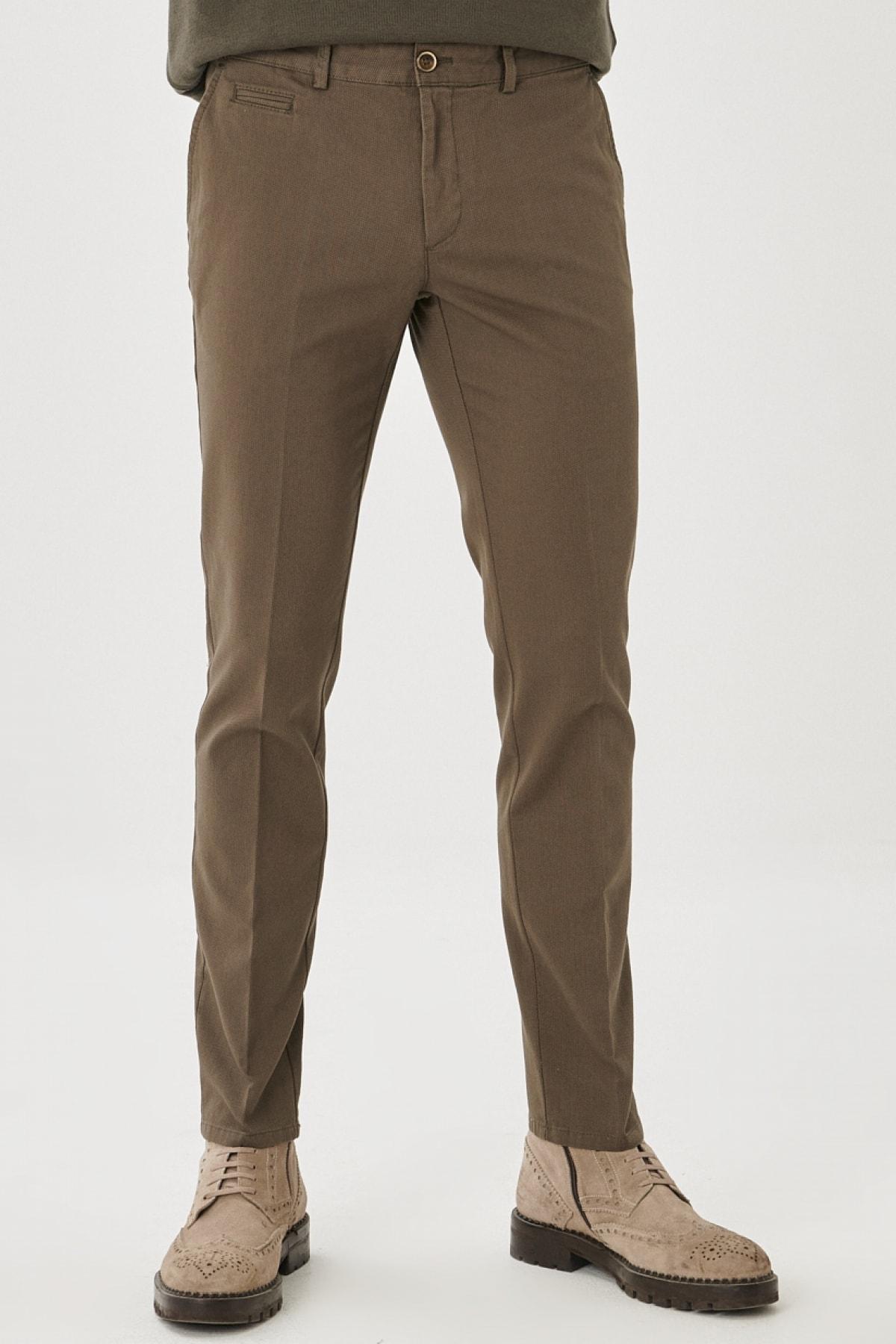 Erkek Yeşil Slim Fit Dar Kesim Yan Cep Casual Pantolon