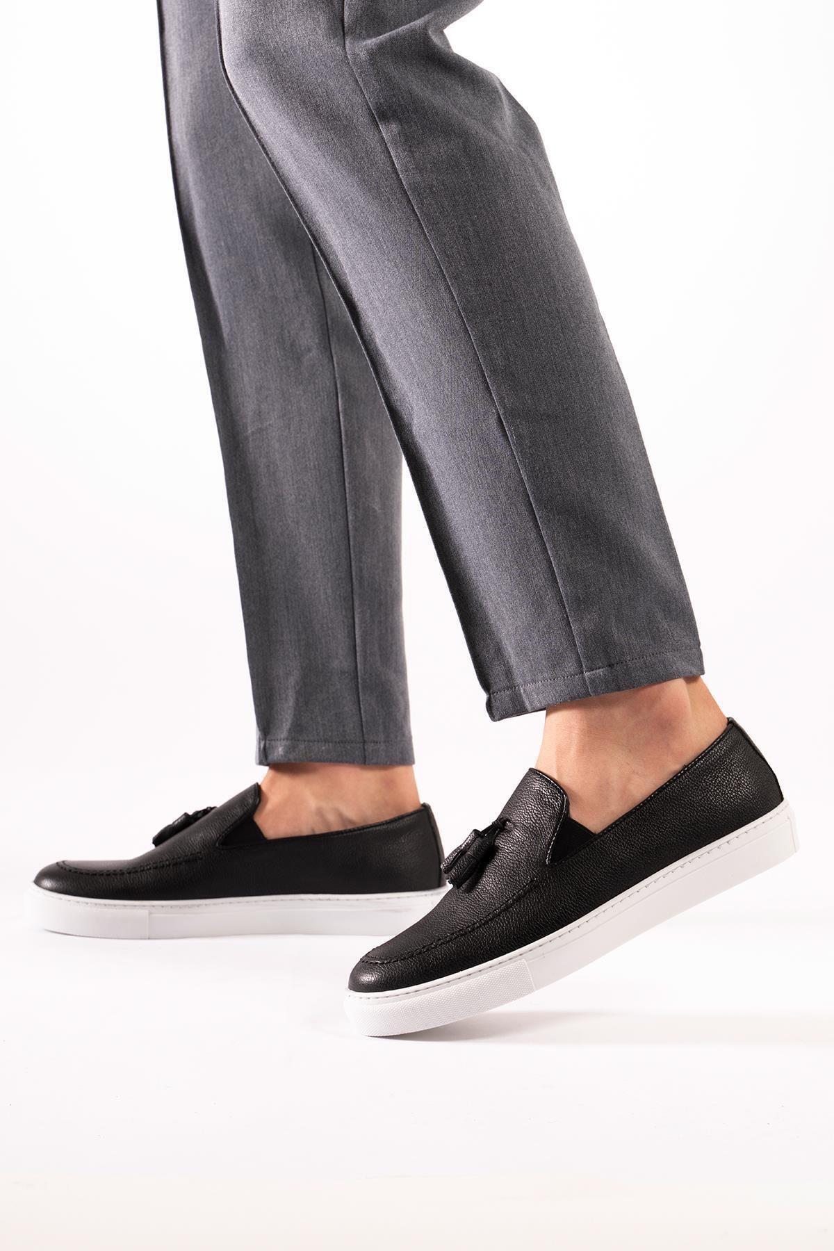 Hakiki Deri Erkek Loafer Sneaker Spor Ayakkabı Püsküllü Pedli
