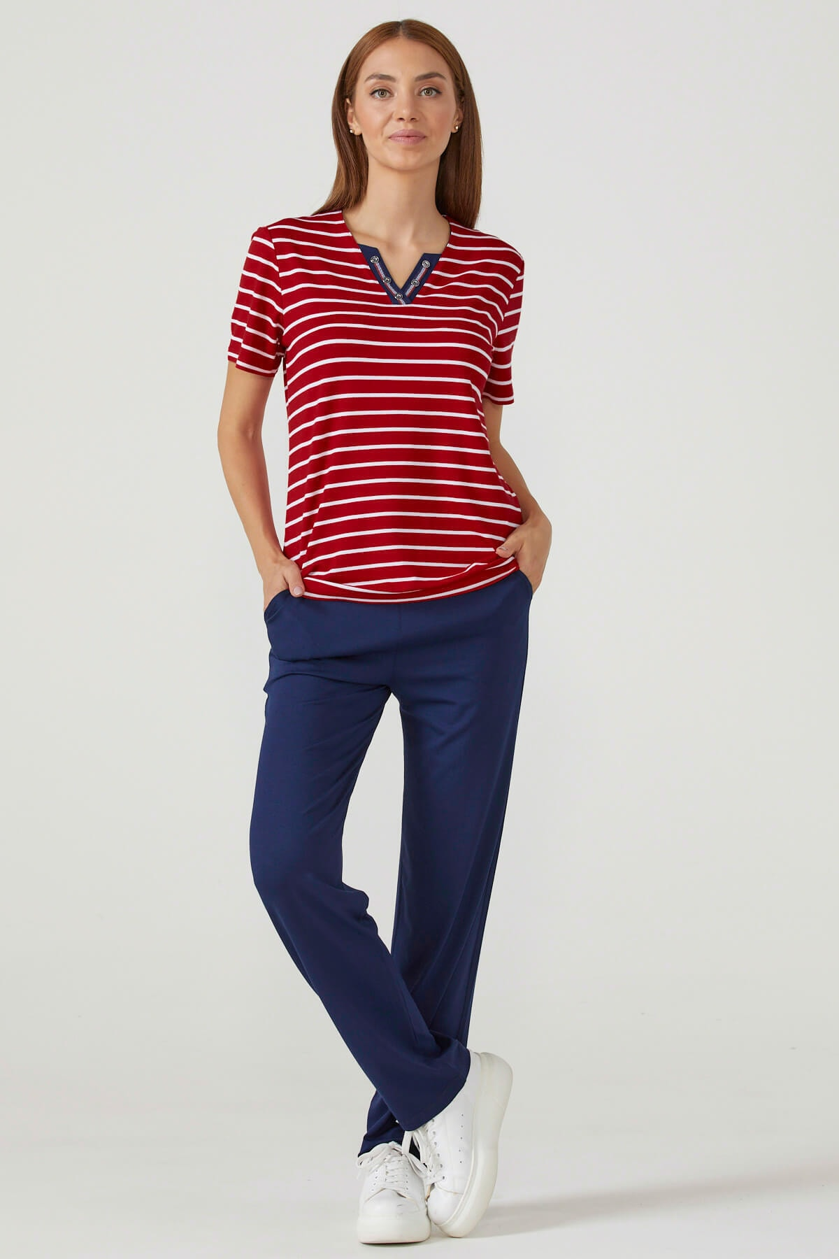 Kadın Kısa Kol Pijama Takım - Kırmızı - Lacivert