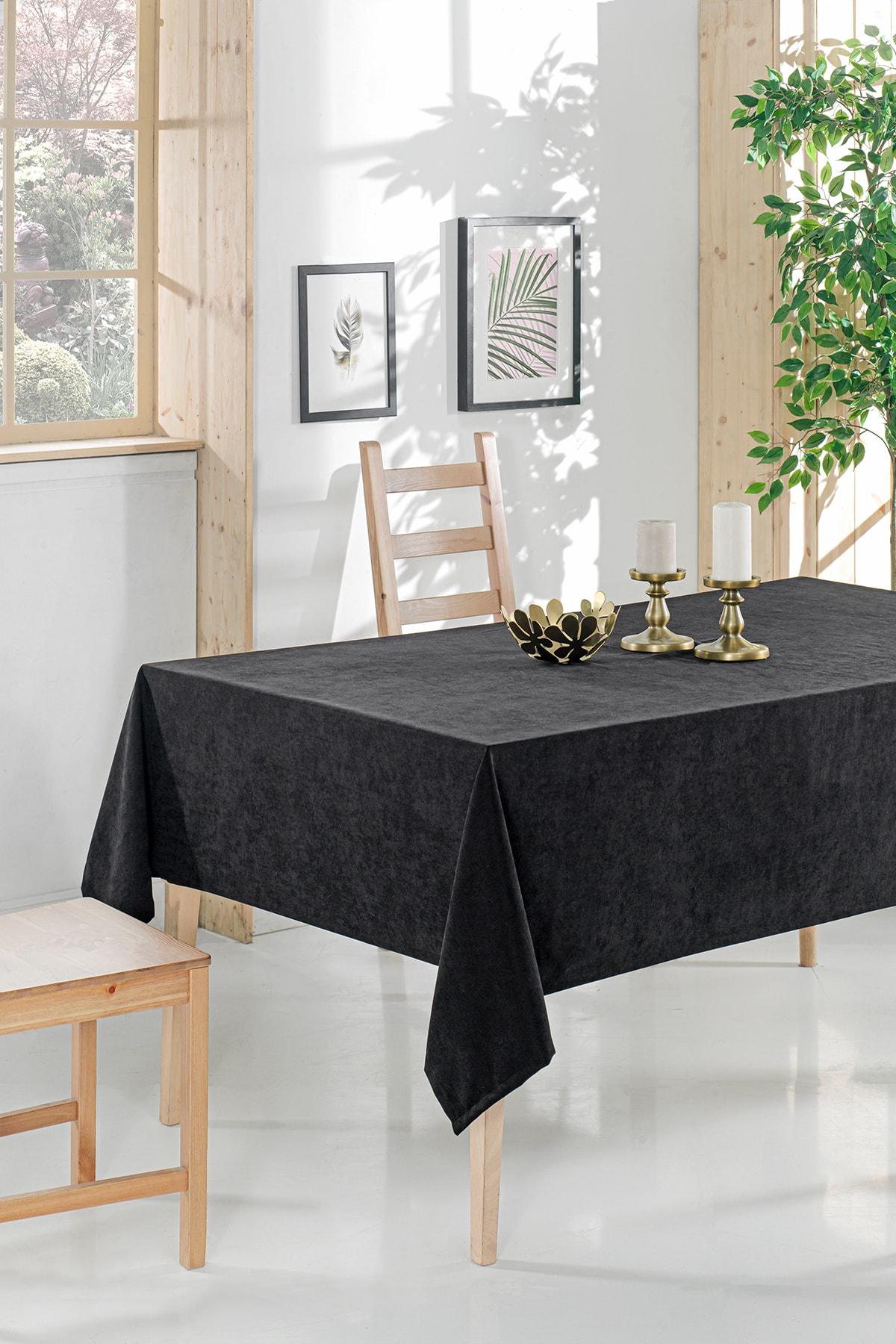 Siyah Sade Kadifemsi Mutfak Salon Masa Örtüsü  Masa-194  160x220 cm