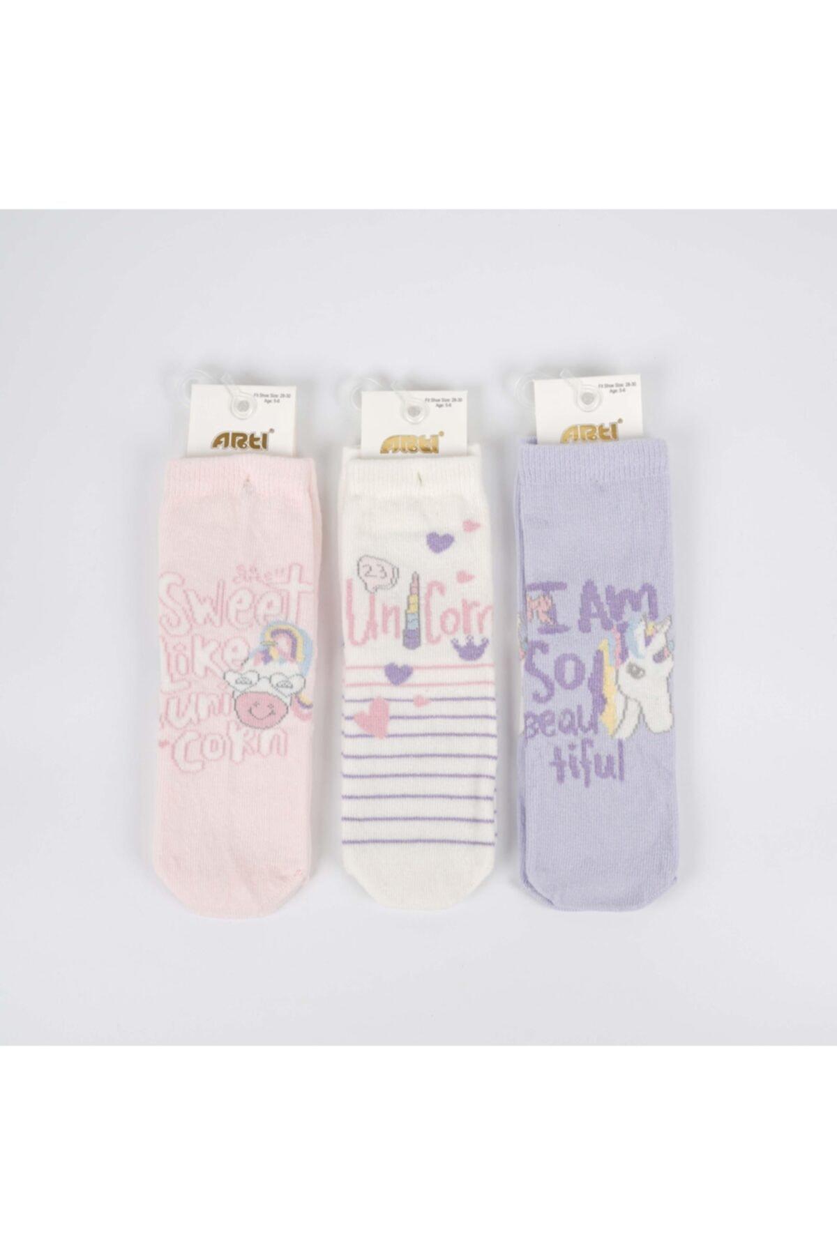 Isviti 3'lü Kız Çocuk Pamuk Soket Çorap