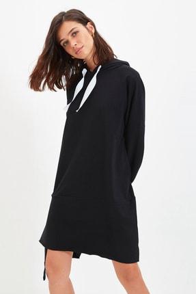 Siyah Kapüşonlu Örme İnce Sweat Elbise TWOAW22EL0070