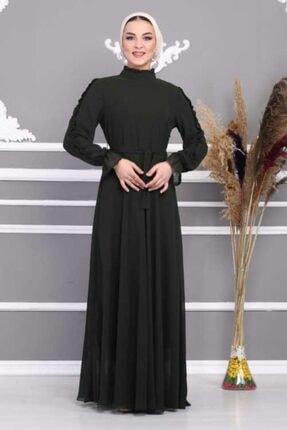 Zümrüt Yeşili Kemerli Ve Astarlı Tesettür Elbise 0013