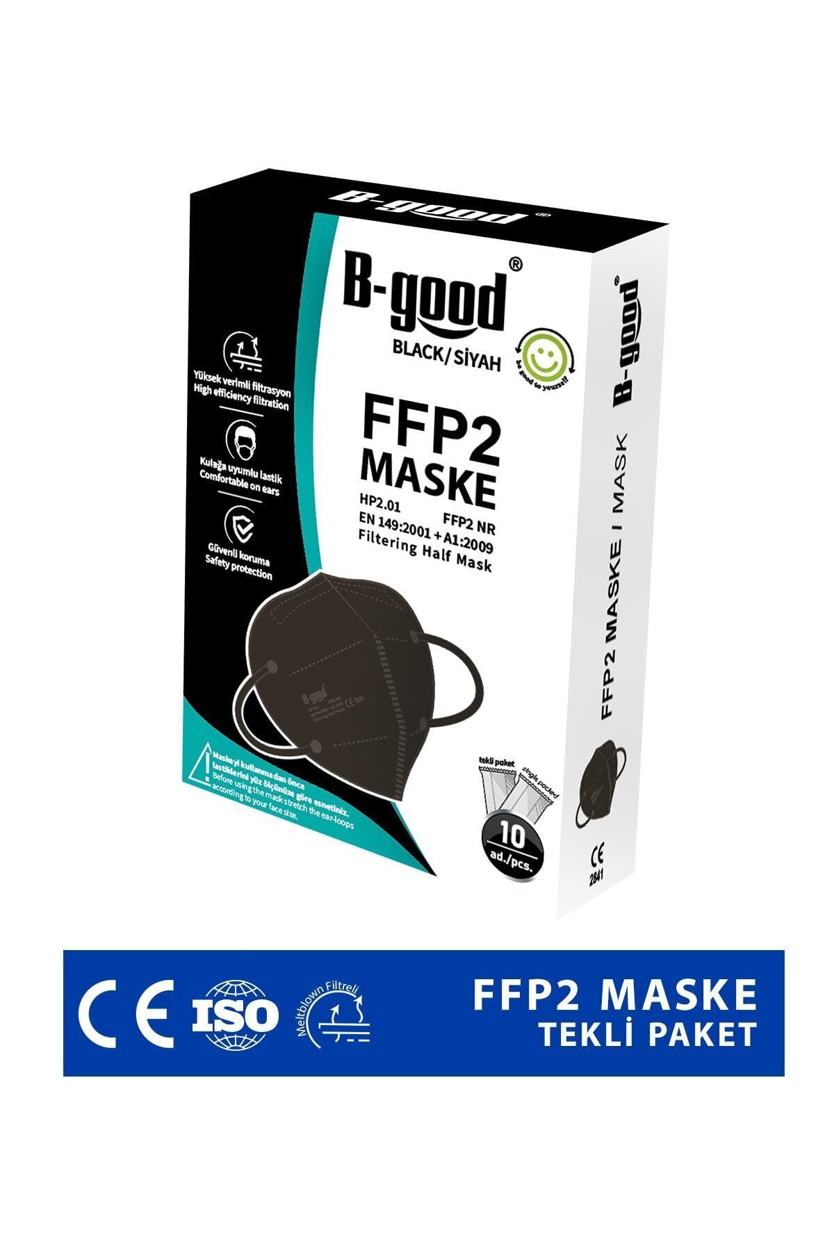 Ffp2 Tekli Paketlenmiş Siyah Koruyucu Maske 10'lu