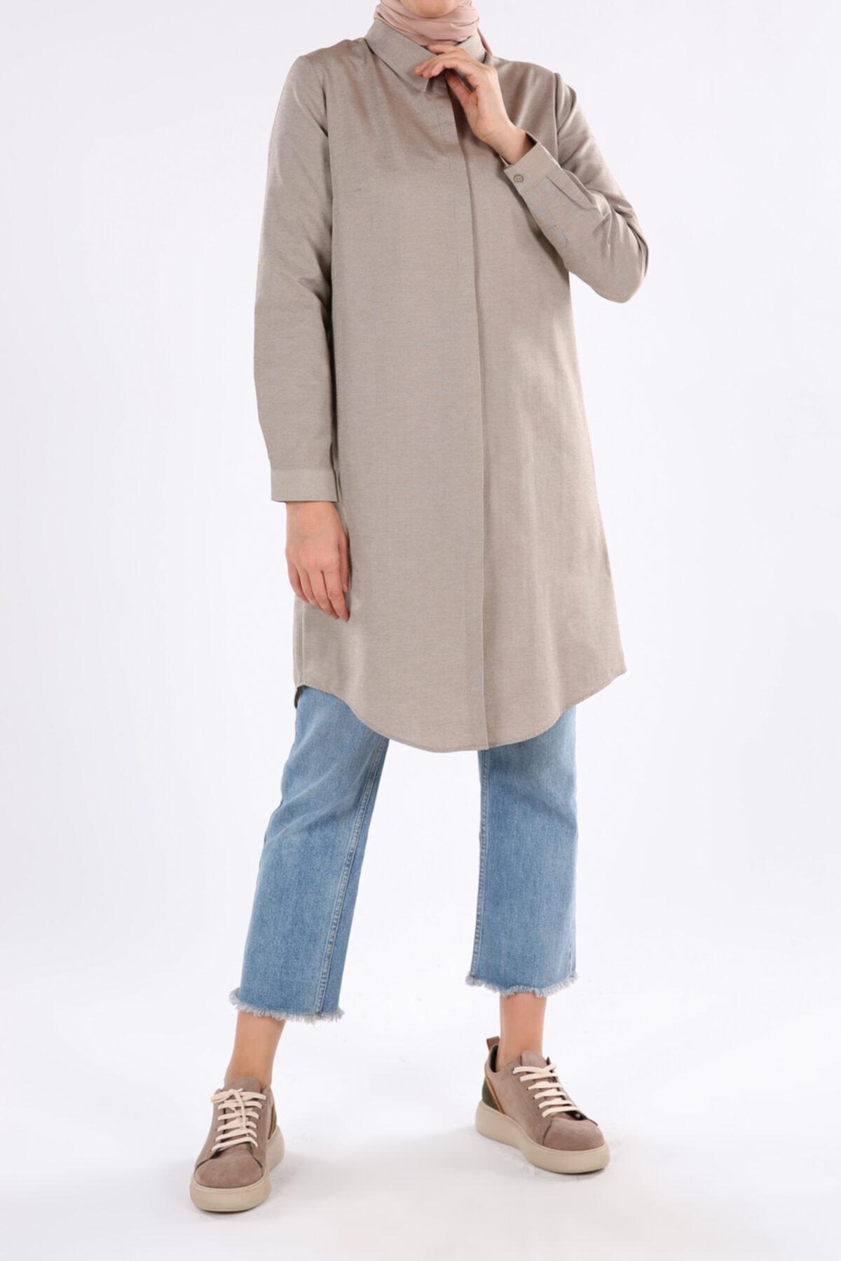 Toprak Gizli Patlı Basic Gömlek Tunik