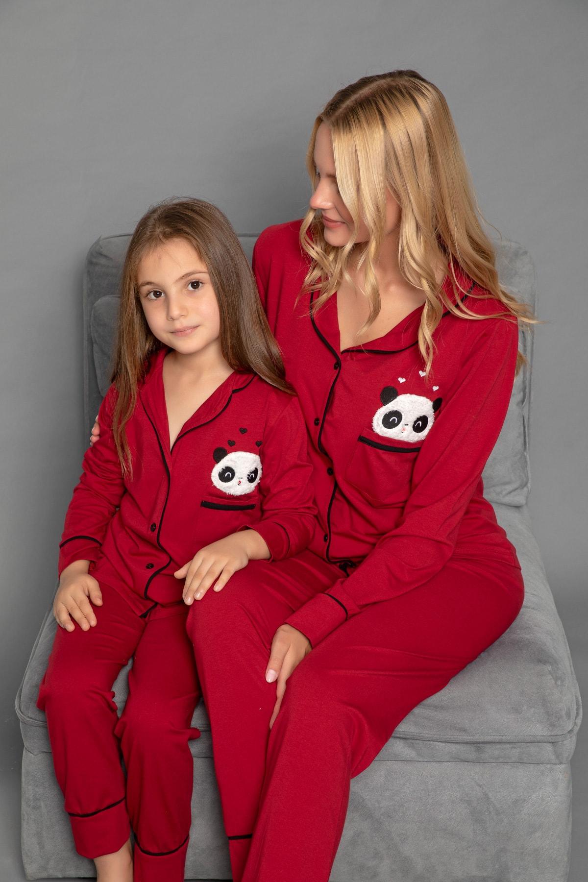 Kadın Bordo Pamuklu Likrali Düğmeli Pijama Takim