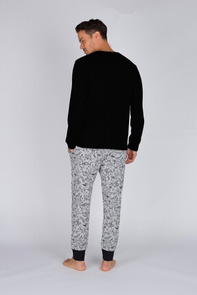 Hays Erkek Gri Melanj Uzun Pijama Takımı 1
