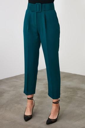 TRENDYOLMİLLA Zümrüt Yeşili Kemer Detaylı Pantolon TWOSS19BB0468 3