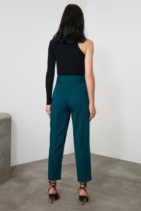 TRENDYOLMİLLA Zümrüt Yeşili Kemer Detaylı Pantolon TWOSS19BB0468 4