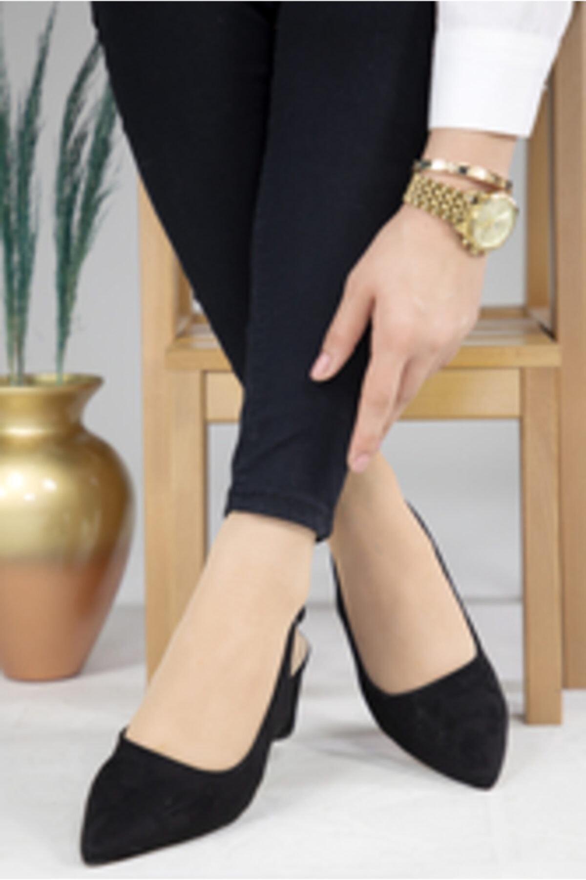 MODANOİVA Kadın Siyah Süet Topuklu Ayakkabı 1003-119-0001-a82