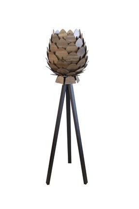 3D SERGİ Dekoratif Ahşap Kozalak Lambader Kilim Desenli / Koyu Kahve Ayak 1