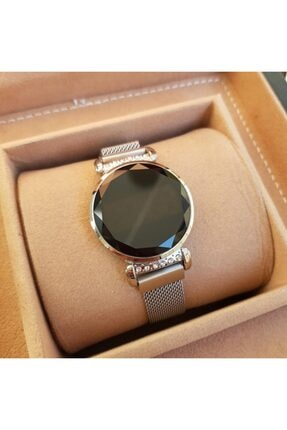 Gold Time Bileklik Hediyeli Dokunmatik Ekran Mıknatıslı Gümüş Renk Taşlı Kadın Saati 0