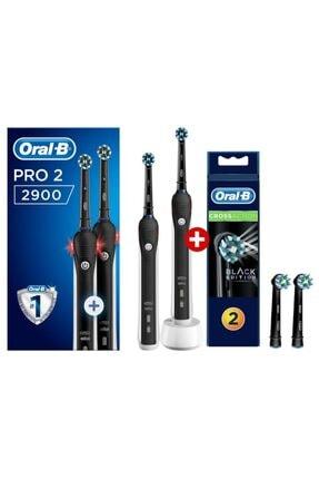 Oral-B Pro 2900 Siyah 2'li Avantaj Paket Diş Fırçası Black + Siyah Yedek Başlık 2'li 1