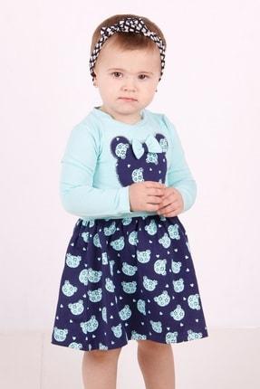 Picture of Kız Bebek Turkuaz Ayıcık Baskılı Elbise