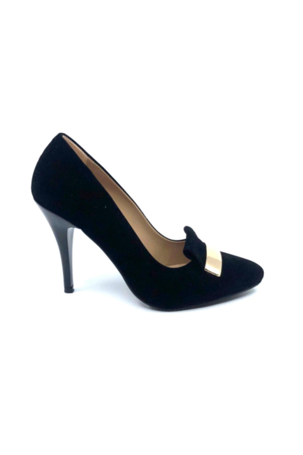 FORS SHOES Kadın Siyah Süet Tokalı Topuklu Stiletto Ayakkabı