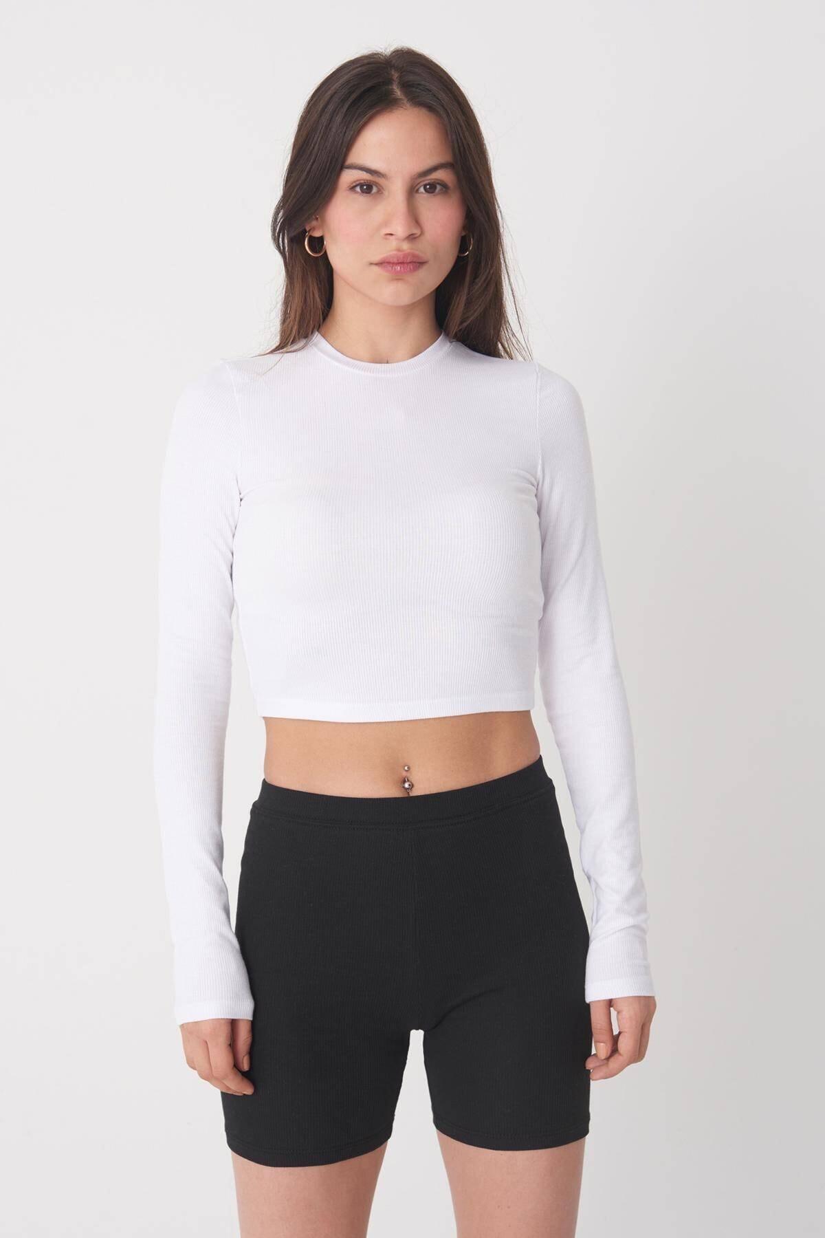 Addax Kadın Beyaz Uzun Kollu Bluz P1017 - K12 ADX-0000022662 1