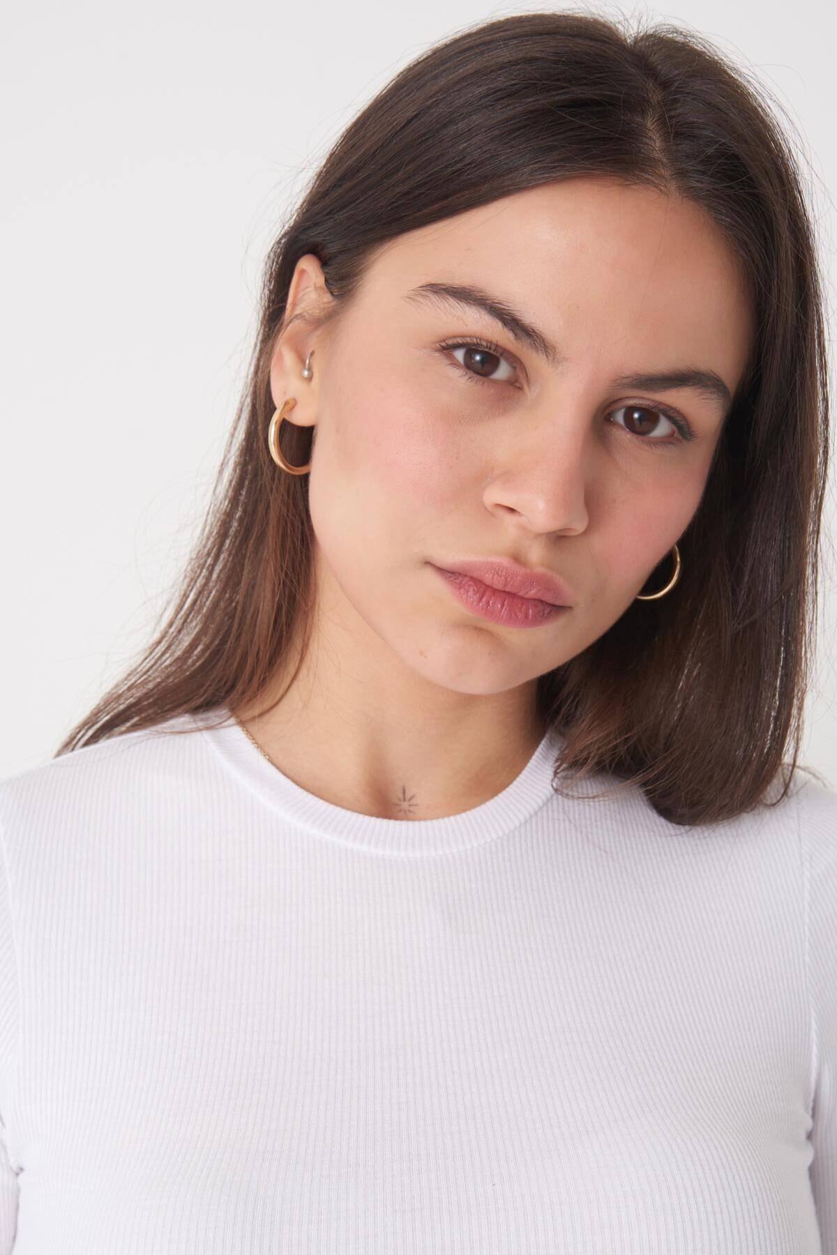 Addax Kadın Beyaz Uzun Kollu Bluz P1017 - K12 ADX-0000022662 3