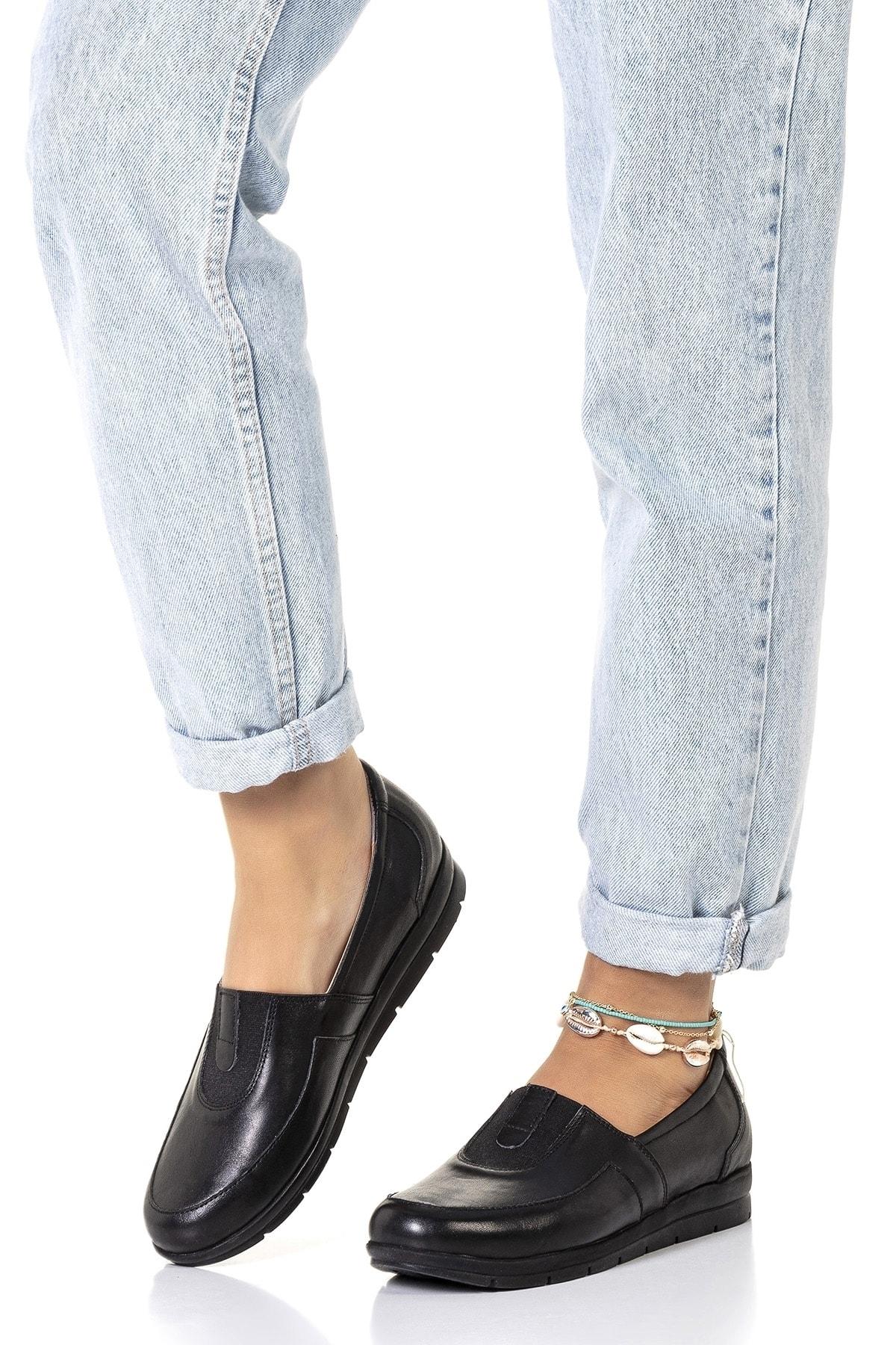 Vita Shoes Kadın Siyah Hakiki Deri Loafer Ayakkabı