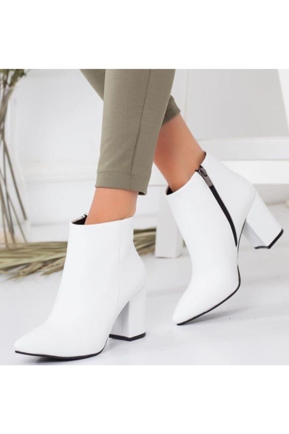MAFEFROM Kadın Beyaz Sivri Klasik Günlük Giyim Cilt Bot