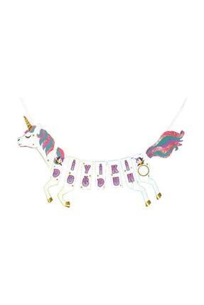 TahtakaleToptancıları Unicorn Temalı Flama Asmalı At Şeklinde Simli İyi ki Doğdun Yazısı 1