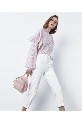 İpekyol Kadın Pembe Fırfır Şeritli Dantel Bluz 1