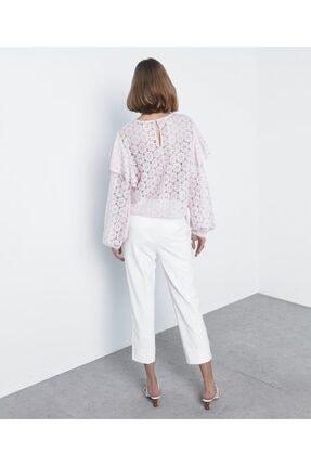 İpekyol Kadın Pembe Fırfır Şeritli Dantel Bluz 3