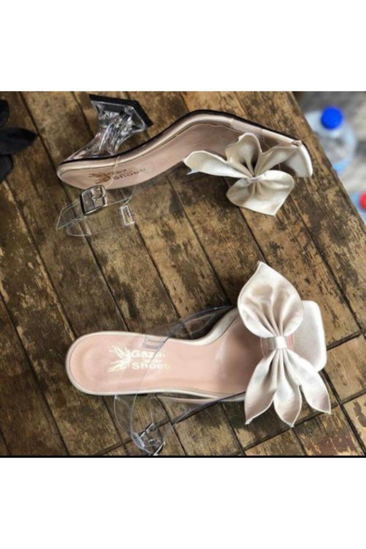 Gazal Shoes Kadın Krem Tokalı Şeffaf Topuklu Ayakkabı