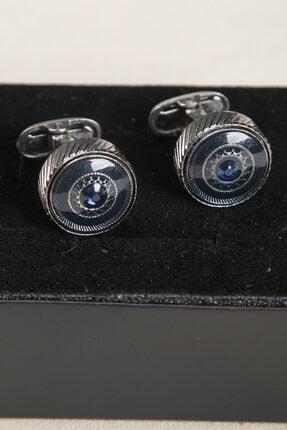 BAYEFENDİ Gümüş Rengi Parlak Mavi Taşlı Kol Düğmesi 1