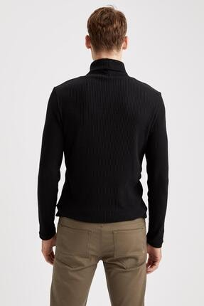 Defacto Erkek Siyah Balıkçı Yaka Uzun Kollu Slim Fit Tişört 2