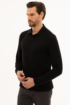 Pierre Cardin Erkek Siyah Slim Fit Polo Yaka Sweatshirt G021GL082.000.1208969 2