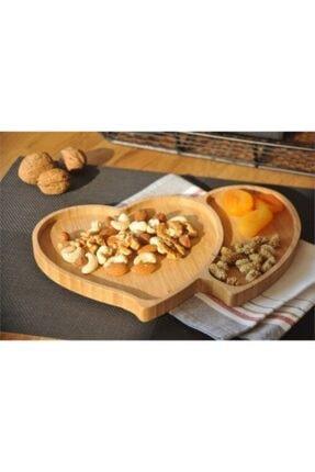 Ceyka 2 Bölmeli Kalpli Bambu Çerezlik , Kahvaltılık , Mezelik Tabak 3