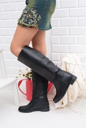 Moda Değirmeni Siyah Cilt Kadın Çizme Md1010-117-0002 1