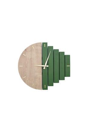 Yedi Home&Decor Wooden Sections Ahşap Modern El Yapımı Duvar Saati 5024_grass Green 1
