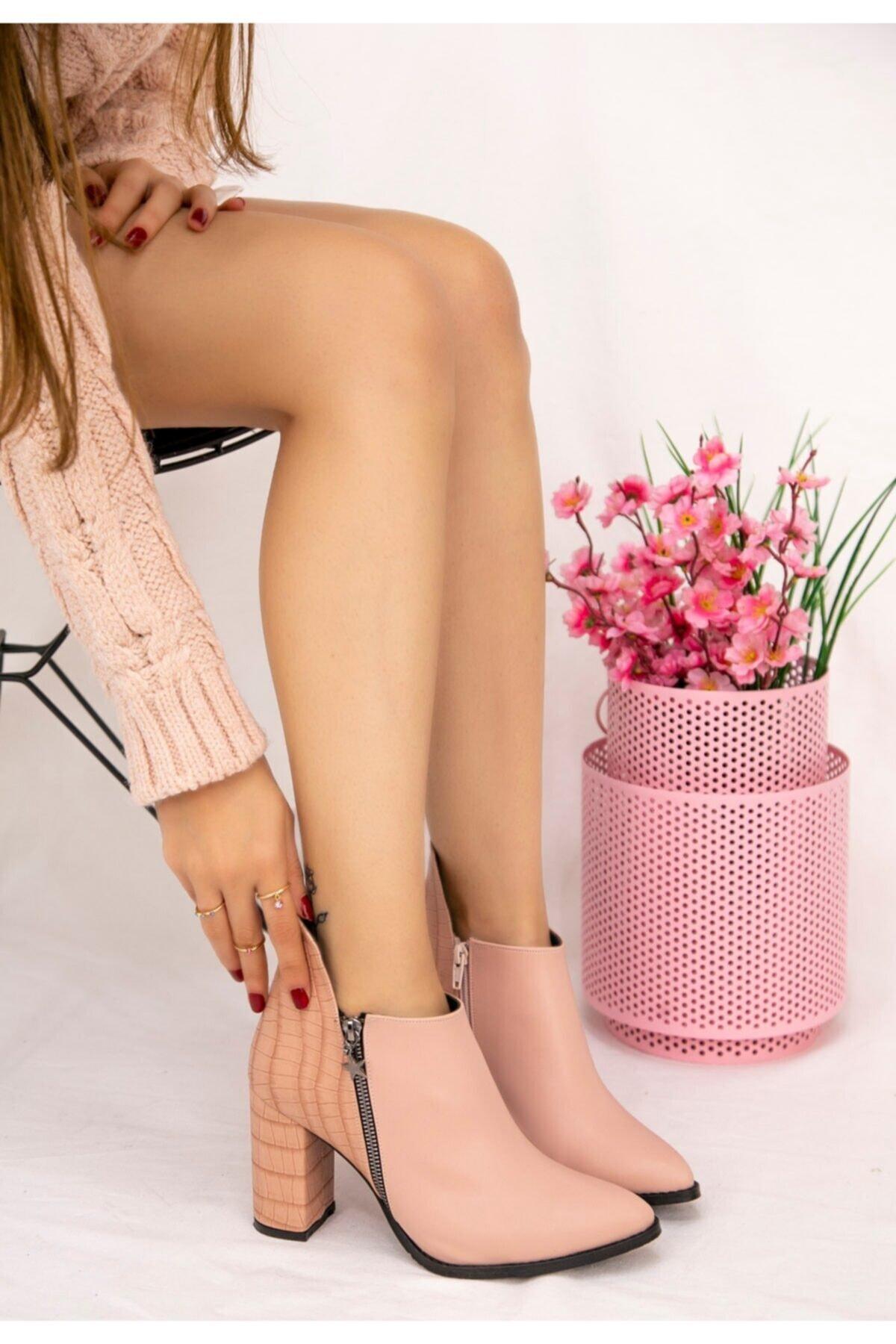 Erbilden Kadın Pudra Clarin Cilt Topuklu Bot