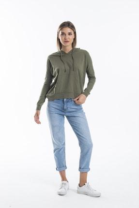 TAKE7 Kadın Haki Kapüşonlu Uzun Kollu Kanguru Cepli Basic Örme T-shirt 1