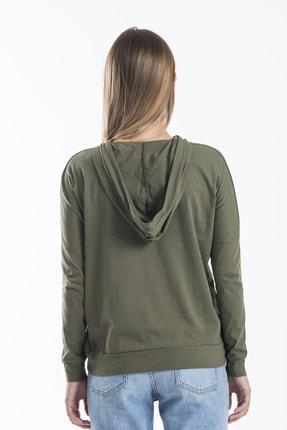 TAKE7 Kadın Haki Kapüşonlu Uzun Kollu Kanguru Cepli Basic Örme T-shirt 4