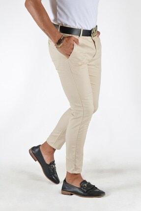 Terapi Men Erkek Krem Slim Fit Keten Pantolon 0