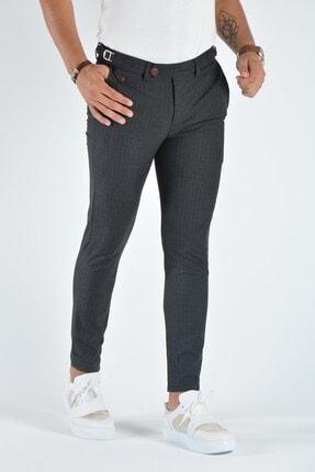 Terapi Men Erkek Antrasit Çizgili Slim Fit Keten Pantolon 20k-2200369 0