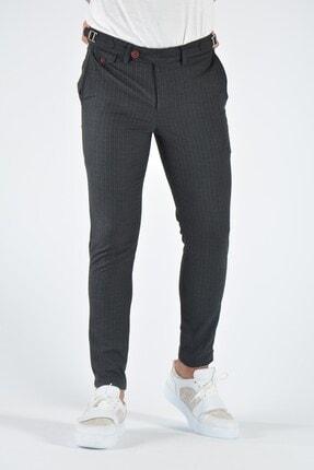 Terapi Men Erkek Antrasit Çizgili Slim Fit Keten Pantolon 20k-2200369 1